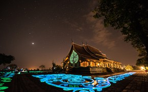 Picture landscape, night, stars, lighting, Thailand, temple