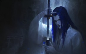 Picture katana, samurai, long hair, sheath, in the dark, by Leo, Samurai Shodown, Tachibana Ukio