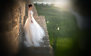 Picture girl, pose, photo, model, dress, hairstyle, ladder, the bride, bokeh