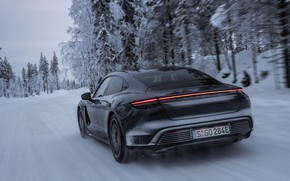 Picture snow, trees, black, Porsche, ass, 2020, diffuser, Taycan, Taycan 4S