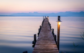 Picture lake, shore, posts, morning, Germany, pier, lights, Chiemsee