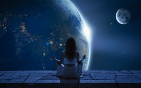 Picture girl, space, stars, light, night, space, pose, rendering, fantasy, fiction, open, relax, the moon, hair, …