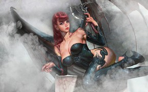 Picture Girl, Smoke, Style, Girl, Wings, The demon, Succubus, Style, Fiction, Smoke, Figure, Succubus, Demon, Wings, ...