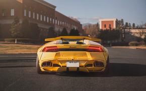 Picture yellow, Lamborghini, Tokyo, Japan, V10, Huracan, LibertyWalk