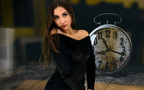 Picture sexy girl, brunette, beautiful girl, time, pose, clock, hour