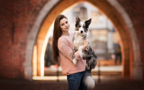 Picture girl, mood, dog