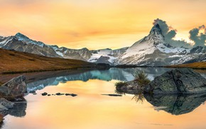 Wallpaper autumn, the sky, clouds, snow, mountains, lake, reflection, stones, rocks, shore, yellow, pond, water surface, ...