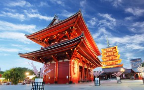 Wallpaper the sky, clouds, trees, lights, home, the evening, Japan, Tokyo, lights, temple, Asakusa Kannon Temple