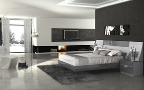 Picture room, interior, fireplace, bedroom