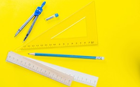 Picture pencil, triangle, the compass, stationery, line