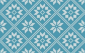 Picture pattern, background, winter, knitted, blue, snowflakes, winter, Christmas, seamles, pattern, blue, knitted, Christmas, background, snowflakes