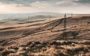 Picture nature, valley, power lines