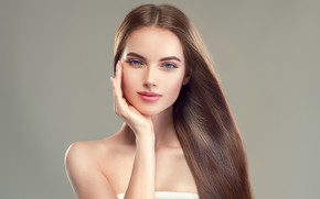Picture girl, face, hair, hand, makeup, hairstyle, blue eyes, Sofia Zhuravets'