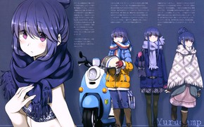 Picture boots, scarf, moped, jacket, bag, blue background, blue hair, bangs, poncho, dressing up, Go camp, …