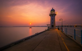 Picture the sun, sunset, lighthouse, pierce