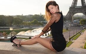 Picture look, sexy, pose, beauty, sitting, dress, Maria Ryabushkina, beautiful legs, Ekaterina Kozhevnikova