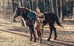 Picture girl, trees, pose, horse, horse, Maria, Anton Kharisov