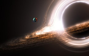 Picture space, planet, black hole