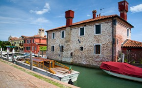Picture boat, home, Italy, Venice, channel, the island of Torcello