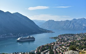 Picture sea, mountains, liner, Montenegro, To