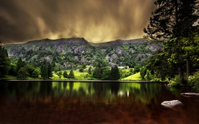 Picture trees, landscape, mountains, clouds, nature, lake, stones, forest, Robert Didierjean