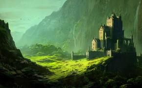 Picture fantasy, trees, landscape, mountains, birds, waterfall, castle, digital art, artwork, Andreas Rocha, fantasy art