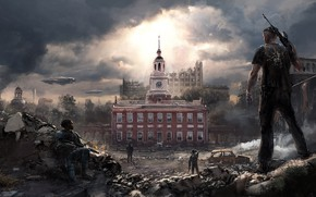 Picture the city, weapons, guy, Homefront The Revolution