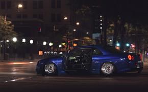 Picture Auto, Blue, The city, Machine, Nissan, Skyline, Nissan Skyline, R34, by Hugo Silva, Hugo Silva, …