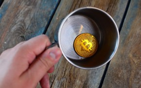 Picture metal, cup, coin, bitcoin