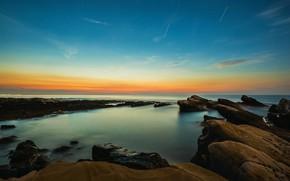Picture sea, the sky, sunset, blue, stones, rocks, blue, shore, the evening, horizon, surf, turquoise, boulders, …