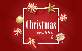Picture Christmas, gifts, New year, red background, 2020
