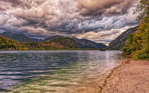 Picture photo, HDR, Nature, Clouds, Mountains, Autumn, Lake, Austria, Coast, Lake Almsee, Habernau