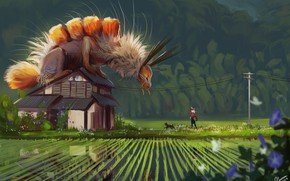Picture girl, caterpillar, house, dog, being, fantasy