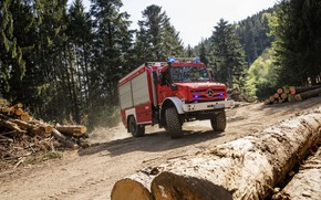 Picture forest, Mercedes-Benz, truck, logs, machinery, Unimog, U5023