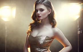 Picture look, light, pose, background, lamp, model, portrait, makeup, dress, hairstyle, beauty, bokeh, Rus, Michael Bazaars, …