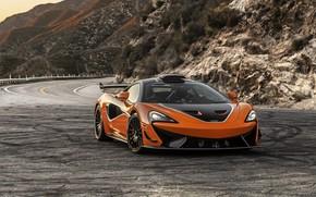 Picture road, mountains, rocks, McLaren, GT4, 2021, 620R, twin-turbo V8, McLaren 620R