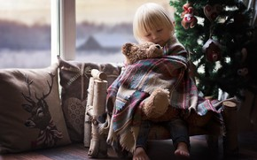 Picture bench, room, mood, holiday, toy, new year, Christmas, baby, window, bear, tree, plaid, child, indre …