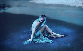 Picture sea, beach, girl, style, shore, fantasy, image, sitting, photoart, Kindra Nikole