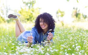 Picture greens, summer, grass, the sun, joy, flowers, nature, smile, sneakers, chamomile, makeup, dress, brunette, hairstyle, …