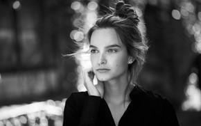 Picture glare, model, portrait, black and white, bokeh, Thomas Ruppel