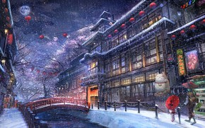 Picture winter, the city, anime, walk