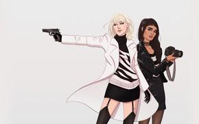 Picture gun, Charlize Theron, Girl, Weapons, Gun, Art, Charlize Theron, Girls, Weapon, Minimalism, Sofia Boutella, Sofia …