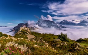 Picture clouds, mountains, Switzerland
