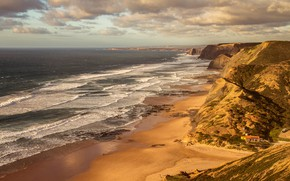 Picture sea, wave, beach, clouds, light, mountains, rocks, hills, shore, view, surf, house