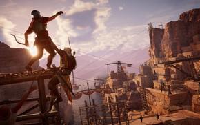 Picture The sun, Sea, Construction, Warrior, Bow, Ubisoft, Video Game, Mercenary, Assassin's Creed Origins