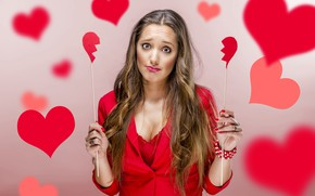 Picture sadness, look, girl, pose, background, mood, holiday, heart, sticks, hands, makeup, hairstyle, hearts, red, brown …