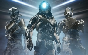 Picture weapons, background, the game, smoke, soldiers, trio, three, Destiny 2, Destiny 2: Shadowkeep