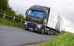 Picture grass, asphalt, vegetation, truck, Renault, tractor, 4x2, the trailer, Renault Trucks, T-series