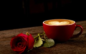 Picture heart, coffee, roses, Bud, Cup, red, love, rose, red rose, heart, wood, cup, romantic, coffee, …