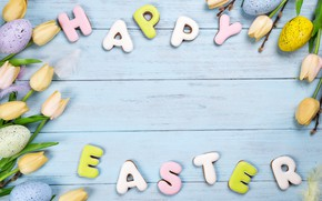 Picture flowers, flowers, eggs, happy, tulips, Easter, eggs, cookies, decoration, easter